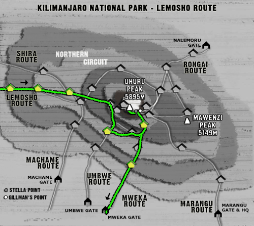 Map Kilimanjaro Lemosho Route (7 days)