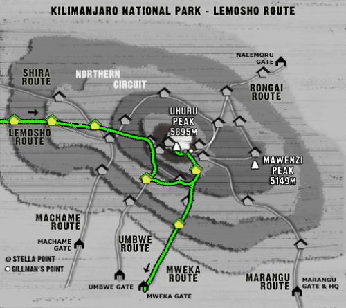Map Kilimanjaro Lemosho Route (7 days)