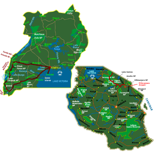 Map Best of Uganda & Tanzania (17 days)