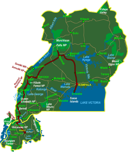 Map Highlights of Uganda & Rwanda (15 days)