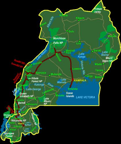 Map Highlights of Uganda & Rwanda (15 days)