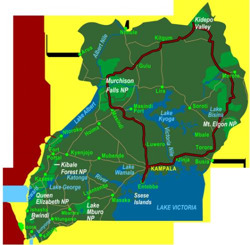Map Uganda Northern Circuit including Kidepo Valley (12 days)