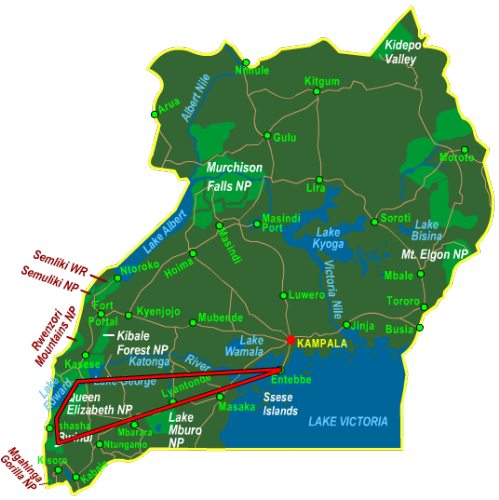 Map Bwindi & Queen Elizabeth National Park - Fly In (6 days)