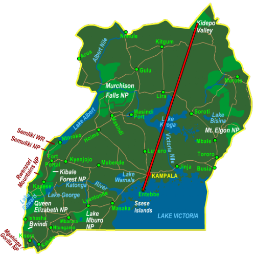 Map Kidepo Valley National Park - Fly In (4 days)