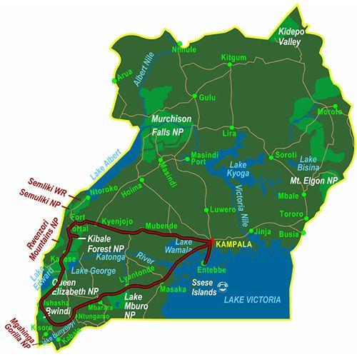 Map Photo Tour Uganda (10 days)