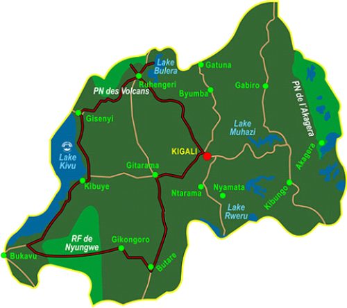 Map Primates of Rwanda (8 days)