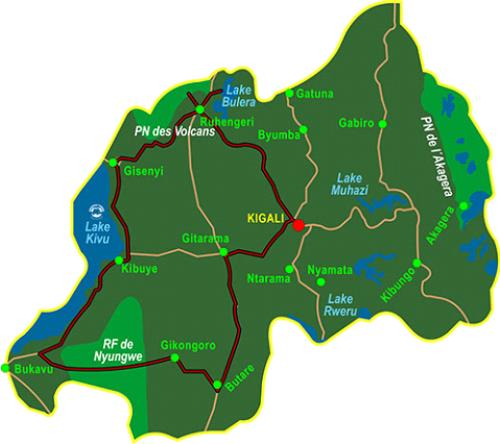 Map Primates of Rwanda (8 days)