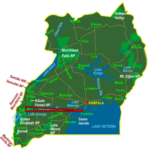 Map Queen Elizabeth National Park - Fly In (3 days)