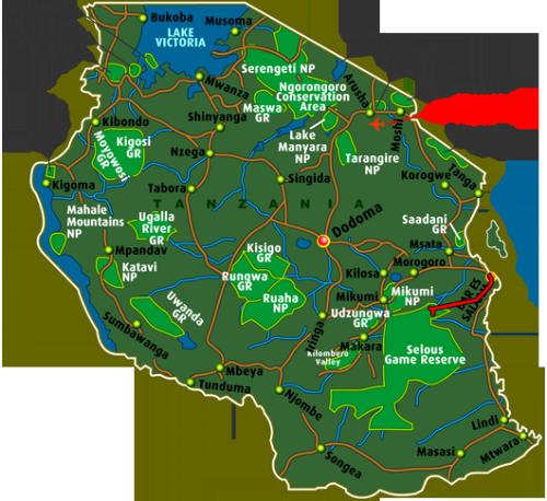 Map Safari Selous Game Reserve (5 days)