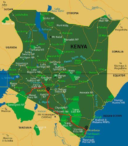 Map Highlights Kenya and Diani Beach (15 days)