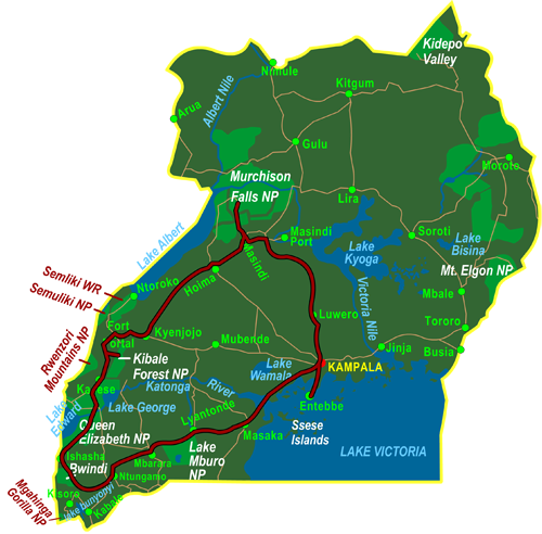 Map Highlights of Uganda (14 days)