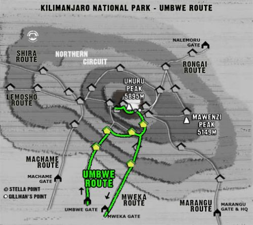 Map Kilimanjaro Umbwe Route (6 days)