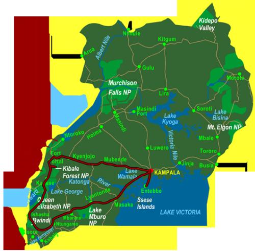Map Western Uganda (10 days)