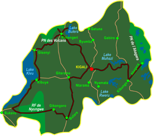 Map Best of Rwanda (14 days)