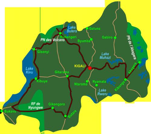 Map Best of Rwanda (14 days)
