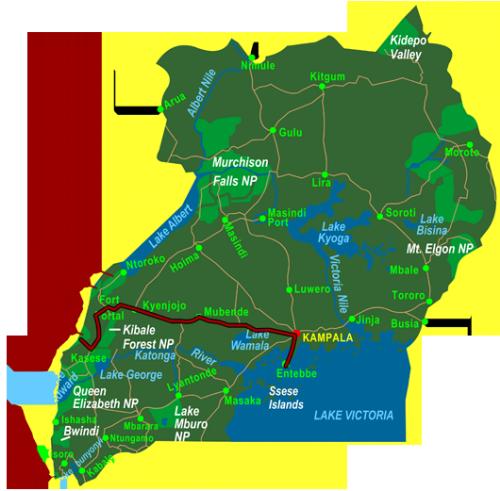 Map Hiking the Rwenzori (10 days)