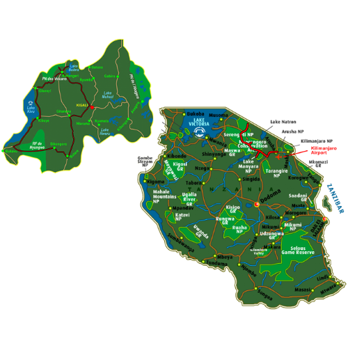 Map Best of Rwanda & Tanzania (14 days)