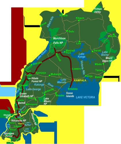 Map Best of Uganda & Rwanda (21 days)