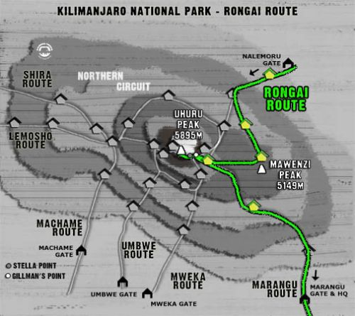 Map Kilimanjaro Rongai Route (6 days)