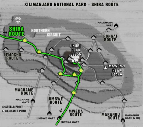 Map Kilimanjaro Shira Route (7 days)