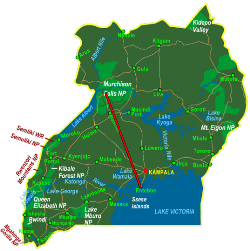 Map Murchison Falls National Park - Fly In (4 days)