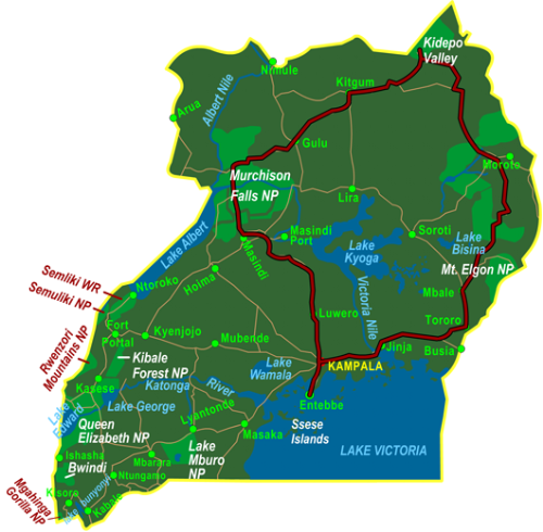 Map Uganda Northern Circuit including Kidepo Valley (12 days)