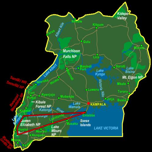 Map Bwindi & Queen Elizabeth National Park - Fly In (6 days)