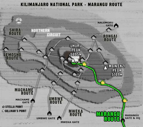 Map Kilimanjaro Marangu Route (5 days)