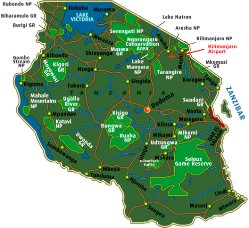 Map Safari Saadani (4 days)