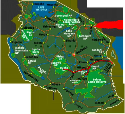 Map Safari Southern Circuit (7 days)