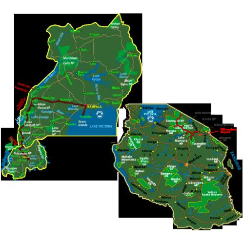 Map Best of Uganda, Rwanda & Tanzania (18  days)