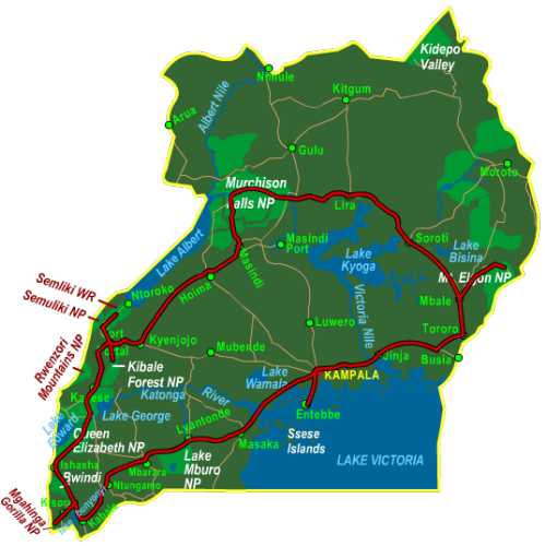 Map Best of Uganda (21 days)