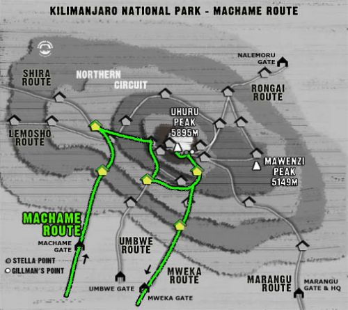 Map Kilimanjaro Machame Route (6 days)