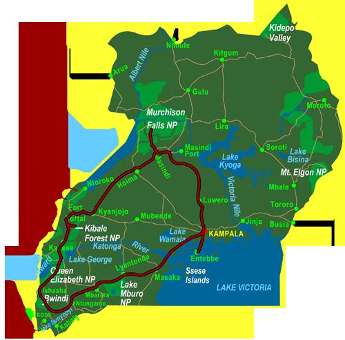 Map Highlights of Uganda (15 days)